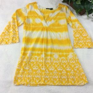 Raviya Yellow & White V-Neck Tunic Top Size S